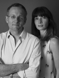 Black and white image of Dr Michael Mosley and Mimi Spencer - authors of the Fast Diet book