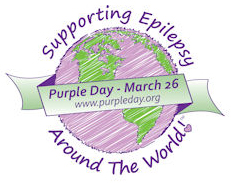 Logo for Purple Day - illustration of a purple and green globe, with a green ribbon wrapped around it