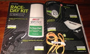 'Race day kit' showing vairous products for triathletes
