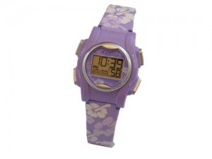 Image of the Pivotell Vibrating reminder watch in a lilac purple flower design
