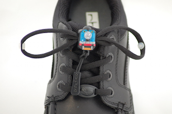 Greeper laces with a thomas tank engine toggle