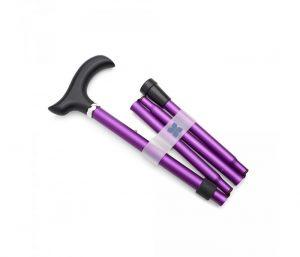 Photo of folding, adjustable walking stick in metallic matt purple