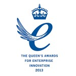 Image of Queen's Award for Innovation logo - shows a blue lowercase 'e' with wings, with a crown on top