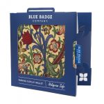 Image of a William Morris design blue badge protector in its packaging