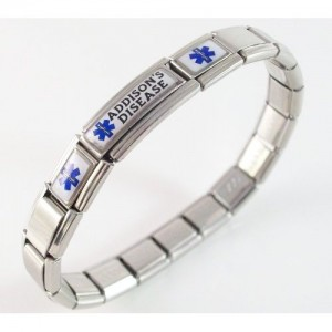 "image of a silver braclet with ""Addison's Disease"" written on it."