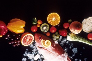 Image showing fruits, vegetables and fish - healthy foods.