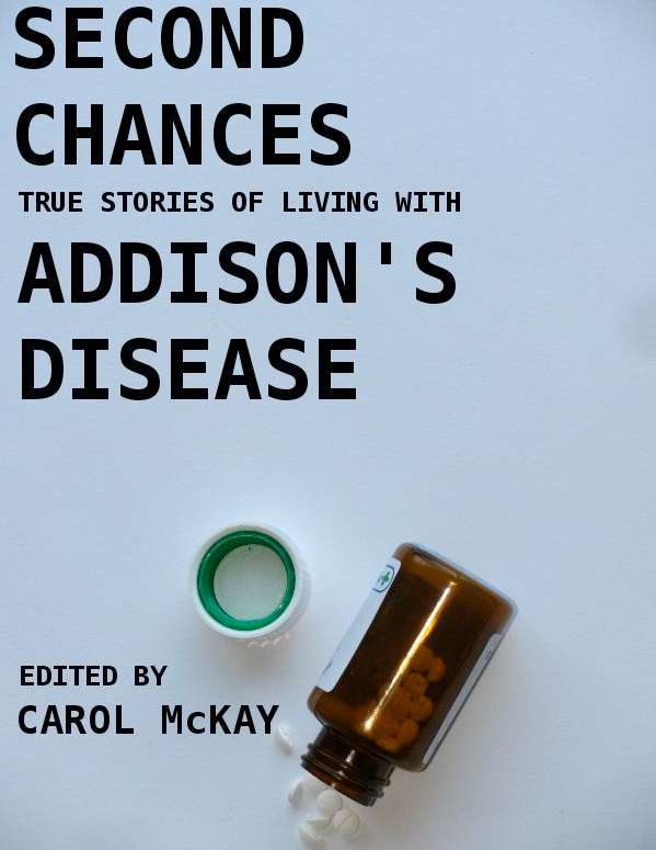 "Image of the e-book cover for Carol McKays book ""Second Chances"" - showing an open pill bottle on its side upon a blue background"
