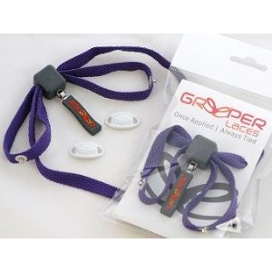 Photograph of two pairs of purple Greeper shoe laces, one in sealed in a packet and the other open and on display