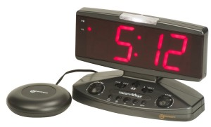 Image of the Wake 'n' Shake digital alarm clock in black, with a large, easy-to-read red LED display