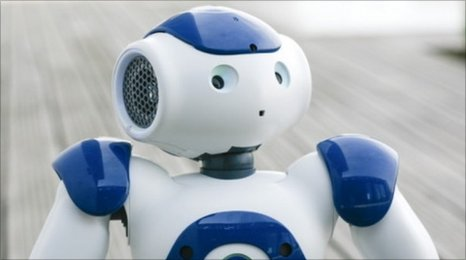 Nao, a blue and white, surprised looking robot