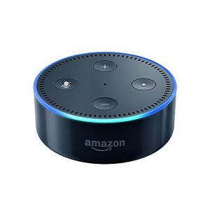 Amazon dot a small black disc gadget with blue lights.