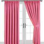 Image shows french doors with pink, pencil pleat curtains