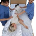 Image shows a photograph from above, of a lady lying in bed with two care givers on either side. The carers are using the sheets below the patient to turn her in bed