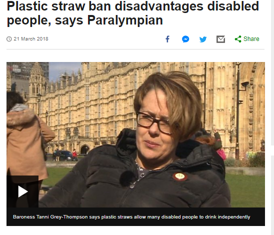 "screen shot of BBC website with Tanni in front of the Houses of Parliament and a headline ""Plastic Straw ban disadvantages disabled people, says paralympian"""