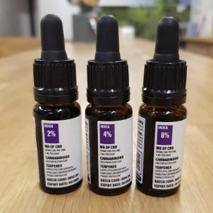 Image is a photograph of three tincture bottles of Indica CBD oil of different strengths